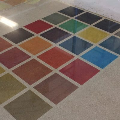 Dyed and polished concrete samples Hudsonville showroom