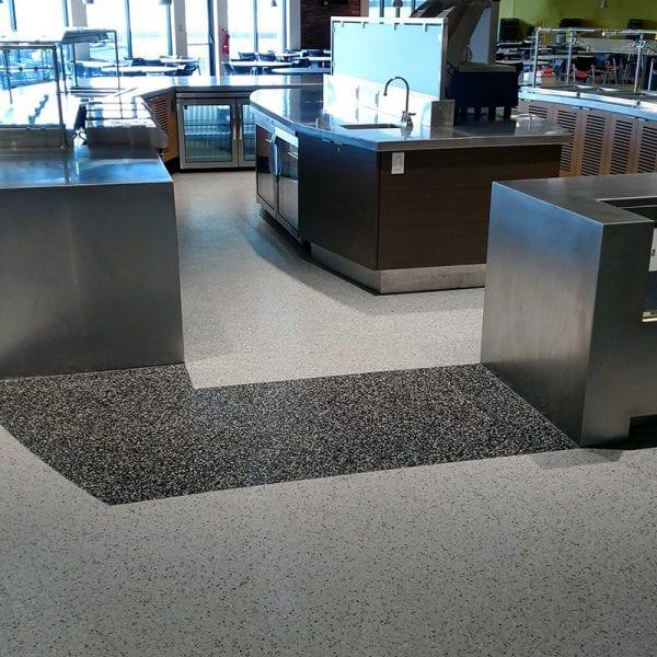 Decorative cafeteria floor coating